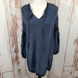 Joie M navy blue Izzy split v silk peasant blouse
